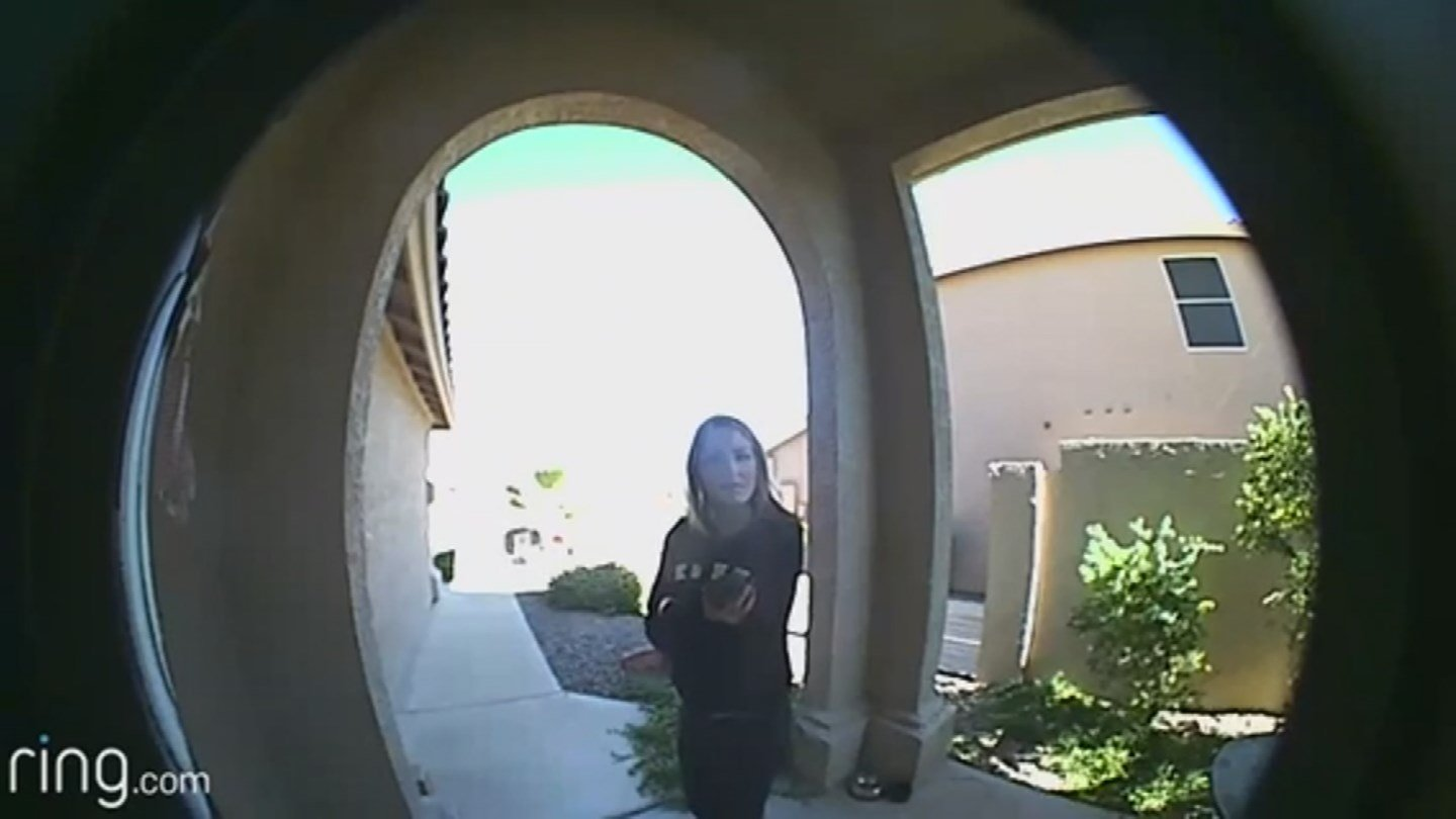 'She waited for over a minute at my door until she stole our package,' the homeowner wrote in an email to us. (Source: KPHO/KTVK)