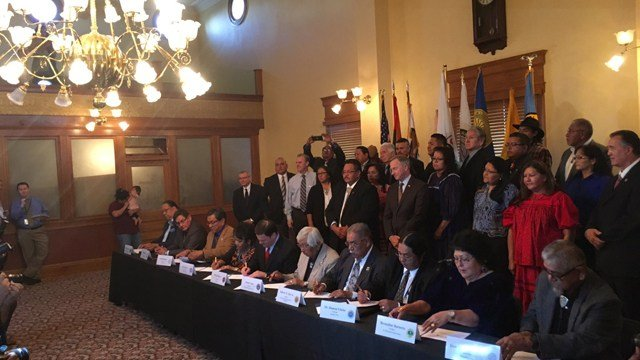 Tribal leaders gather on Monday, Nov. 21, 2016 to sign a new gaming agreement. (Source: Gov. Ducey)