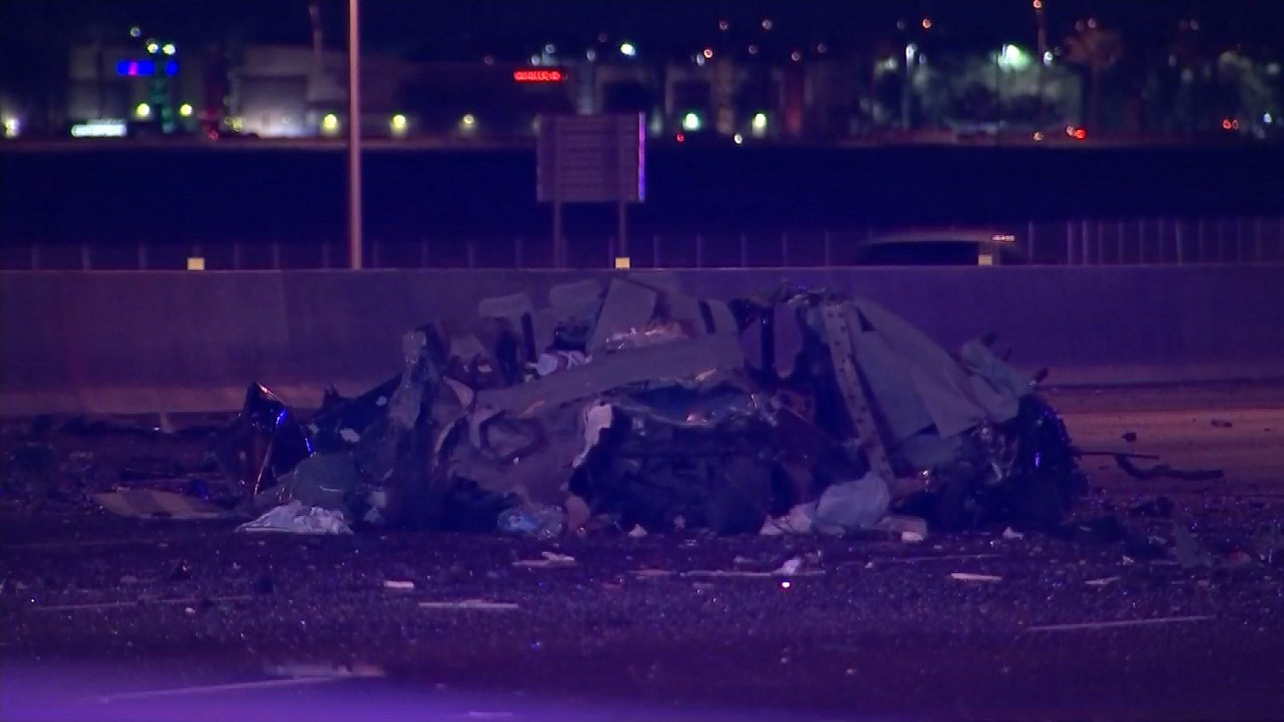 A wrong-way car's driver is dead after smashing head-on into a Greyhound Bus on Interstate 10 in a Phoenix suburb. (Source: KPHO/KTVK)