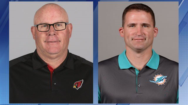 Cardinals coach Bruce Arians (left) and Miami Dolphins special teams coordinator Darren Rizzi (Source: AP)