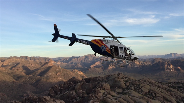 After flying the hikers down, the Ranger helicopter returned for the rescue team. (Source: Arizona Department of Public Safety)
