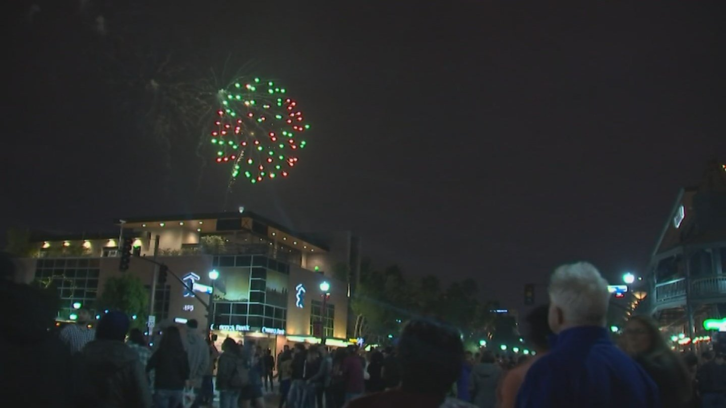 The crowds still showed up to Mill Avenue for New Year's Eve but it wasn't as family-friendly as previous years. (Source: KPHO/KTVK)