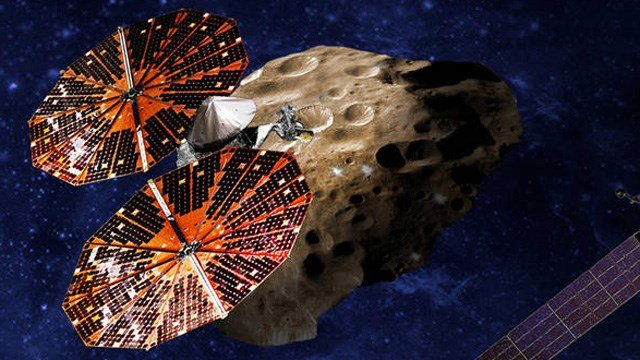 A depiction of the Lucy spacecraft. (Source: NASA)