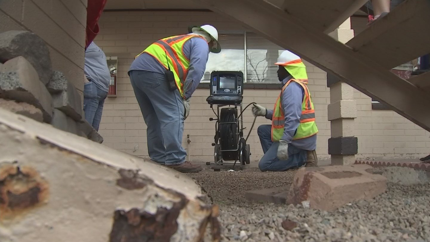 The City of Mesa sent a crew out to clean out the pipes. (Source: KPHO/KTVK)