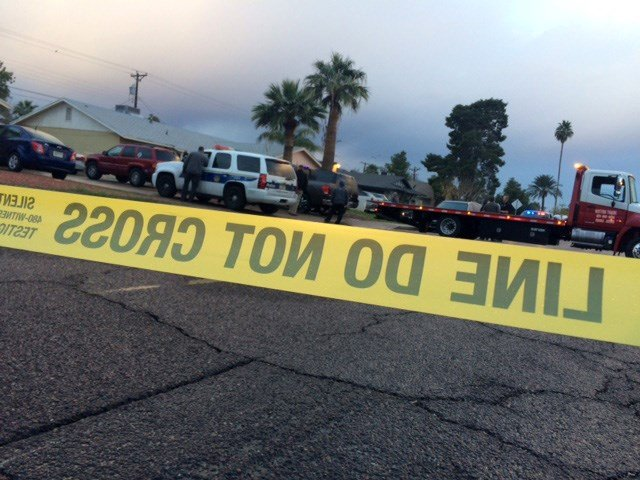 Police investigate after a pedestrian is struck and killed by the driver of a pickup truck early Saturday morning. (Source: Juan Magana, KPHO/KTVK)