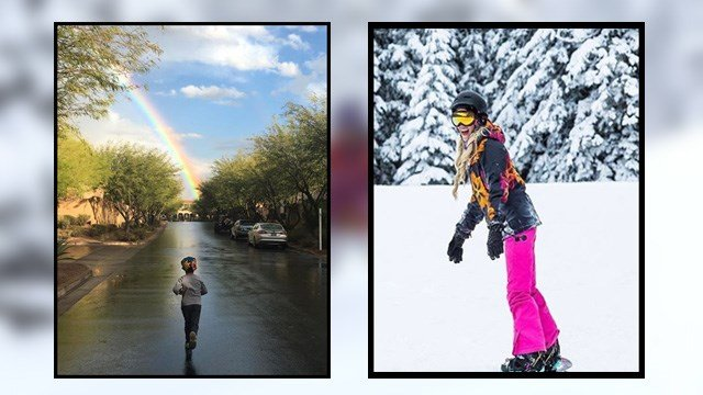 Tale of two weather scenes. Rainbow at DC Ranch on Saturday and a fun at Snowbowl after fresh snow falls.