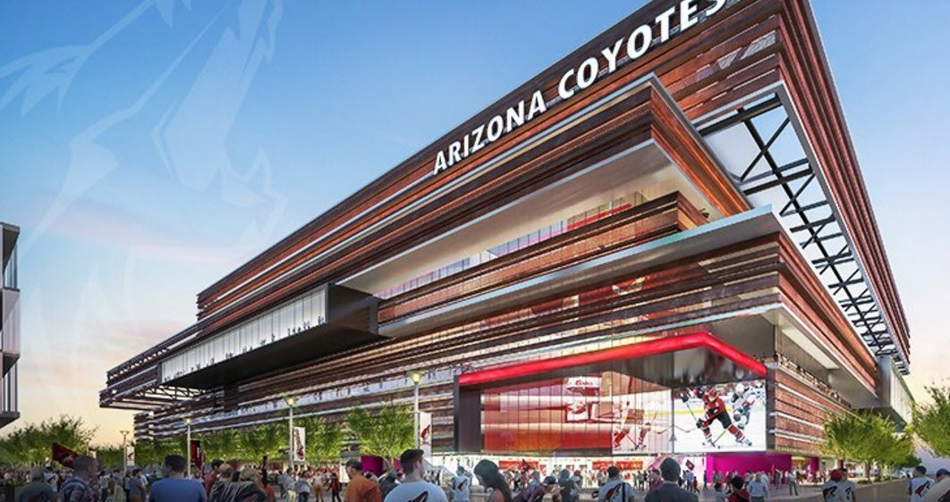 An artist rendering of the outside of the new planned Coyotes arena. (Source: Arizona Coyotes)