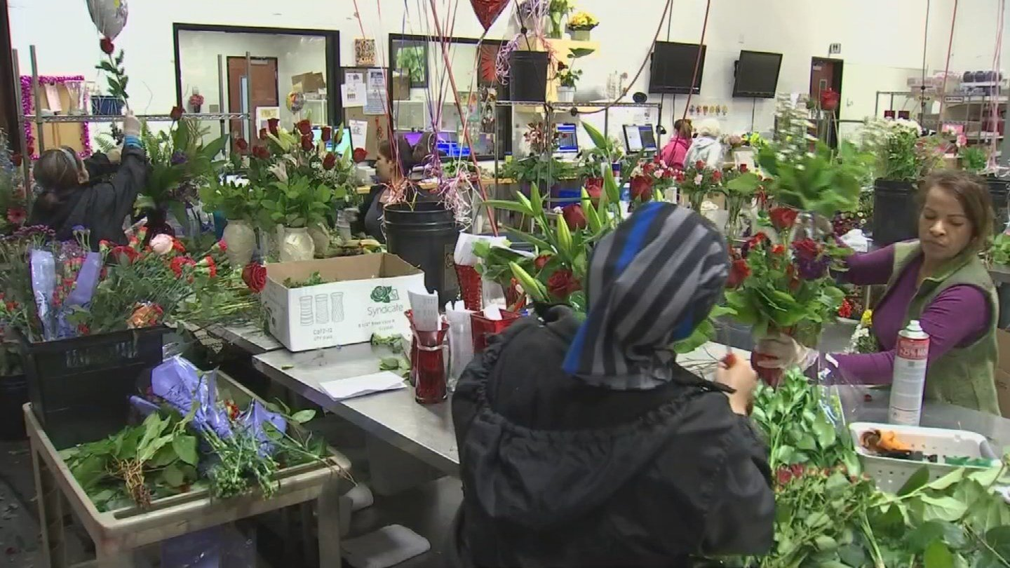 Flower shops in the Valley are busy with orders on the day before Valentine's Day. (Source: 3TV/CBS 5)