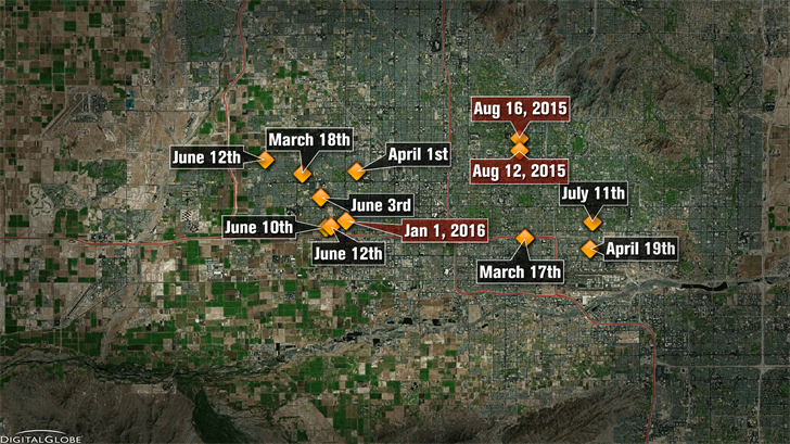 Police have connected 12 shootings in which nine people were killed and three more were hurt. (Source: 3TV/CBS 5)