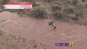 3TV's Bruce Haffner flew over Sycamore Creek near Payson where a vehicle could be seen upside down in the running water. By Jennifer Thomas