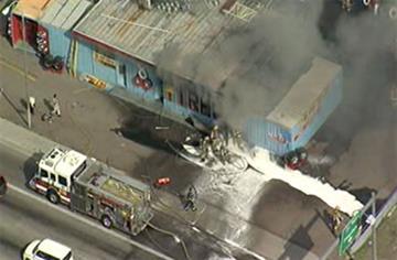 A tire shop on Glendale Avenue at Interstate 17 burned Thursday morning. By Jennifer Thomas