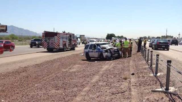 An Arizona Department of Public Safety officer was injured in a collision near Tucson. (Source: Arizona Department of Public Safety)