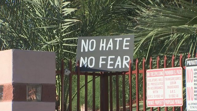 This sign is up at the Phoenix mosque that will be the site of another rally Monday. (Source: KPHO/KTVK)