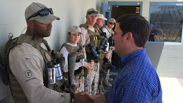 Gov. Doug Ducey on Sunday met members of the Arizona Department of Corrections Tactical Support Unit teams. (Source: Governor's Office)