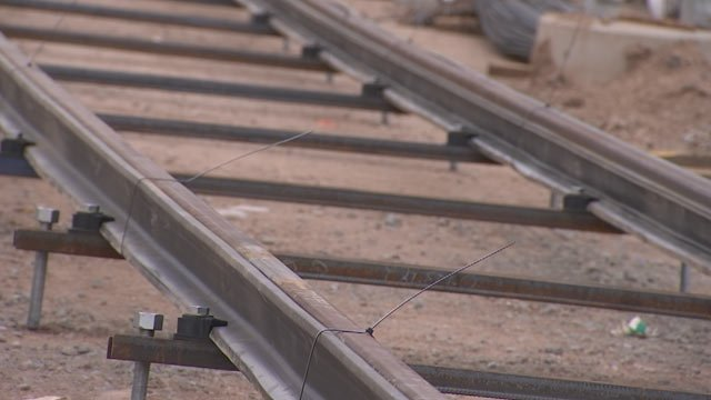 The entire intersection of 19th and Glendale avenues will be shut down from July 30-Aug. 2 so crews can finish laying tracks. (Source: KPHO/KTVK)