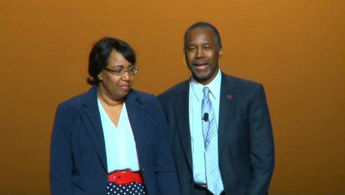 Ben Carson stands with his wife, Candy, at an event in Detroit to formally announce his candidacy for president. (Source: CNN)