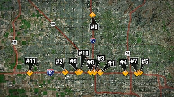 Investigators have confirmed 11 incidents in the last two weeks, mostly shootings and some projectiles. (Source: KPHO/KTVK)