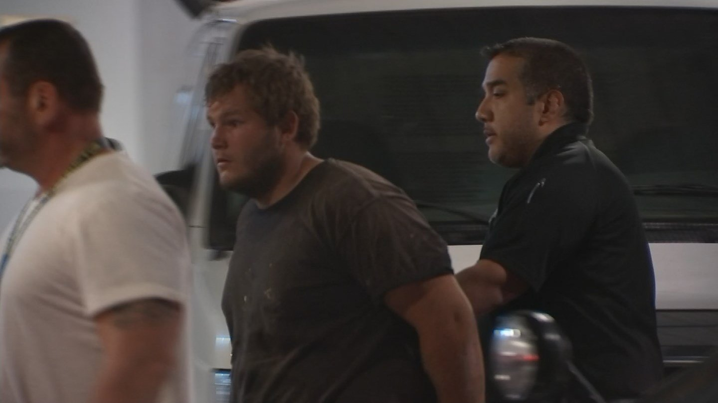 Freeway shooting suspect Leslie Allen Merritt, 21, in custody on Sept. 18 (Source: Jonathan Lowe KPHO/KTVK)