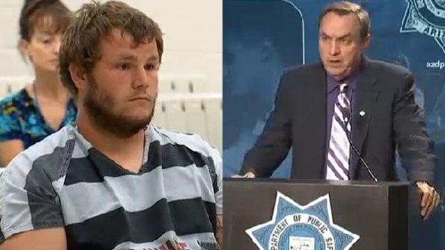 Leslie Merritt in court and DPS spokesman Bart Graves at press briefing. (Source: KPHO/KTVK)