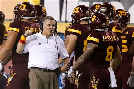 Arizona State head coach Todd Graham, left, talks with D.J. Foster (8) on the sidelines during the second half of an NCAA college football game against Southern California Saturday, Sept. 26, 2015, in Tempe, Ariz. (Source: AP Photo/Ross D. Franklin)