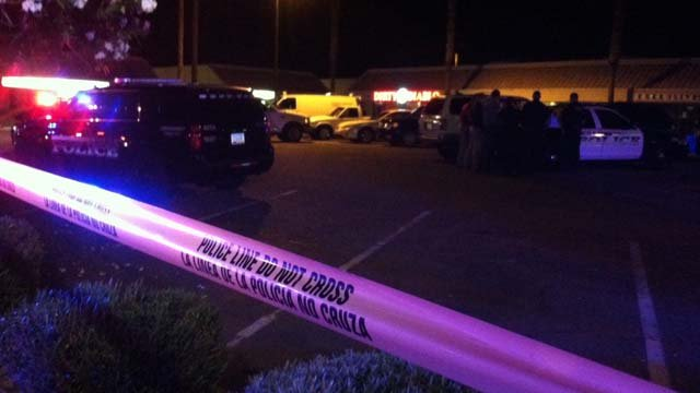 Police on the scene of a stabbing in Mesa on Saturday, Oct. 3. (Source: Jim Fry, KPHO/KTVK)