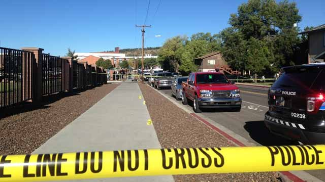 Crime tape surrounds where the shooting happened. (Source: KPHO/KTVK)