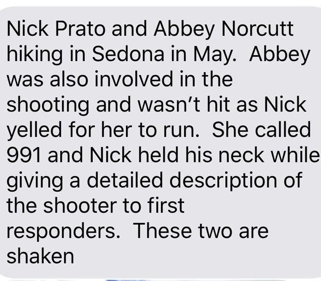 Text message to us from Kimberly Prato.
