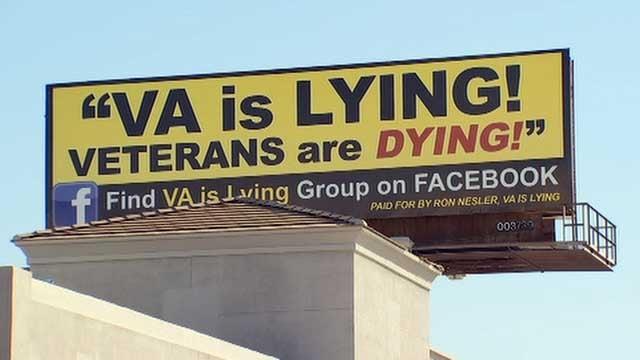 The billboard went up just blocks from the Phoenix VA Medical Center Monday. (Source: KPHO/KTVK)