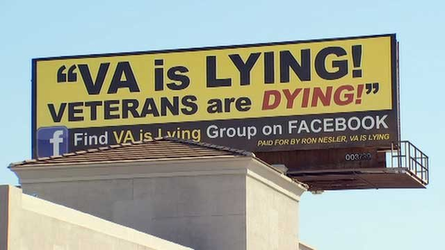 The billboard went up just blocks from the Phoenix VA Medical Center Monday. (Source: KPHO/KTVK)