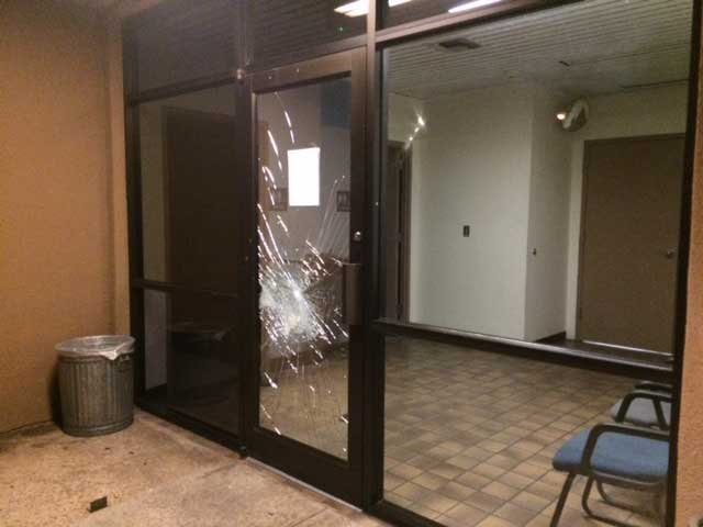 Door of police precinct (Source: KPHO/KTVK)