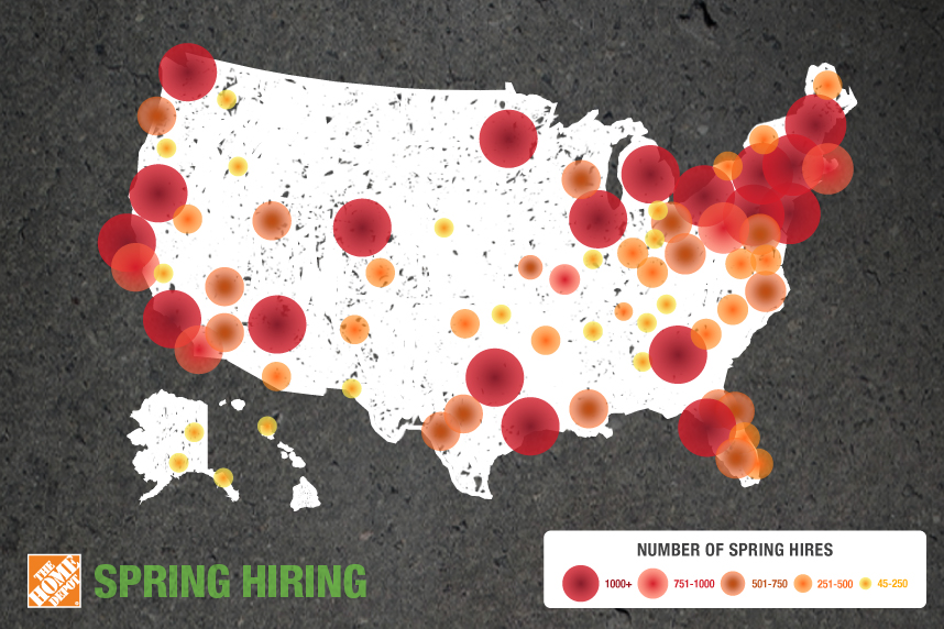 This heat map shows Home Depot's planned hiring across the country