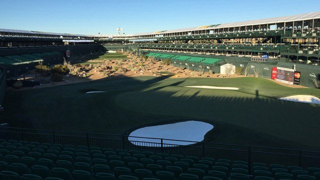 The 16th hole sat silent Tuesday morning, but by Thursday, it had returned to its rowdy self at the Waste Management Phoenix Open. (Source: Nick Krueger/Cronkite News)