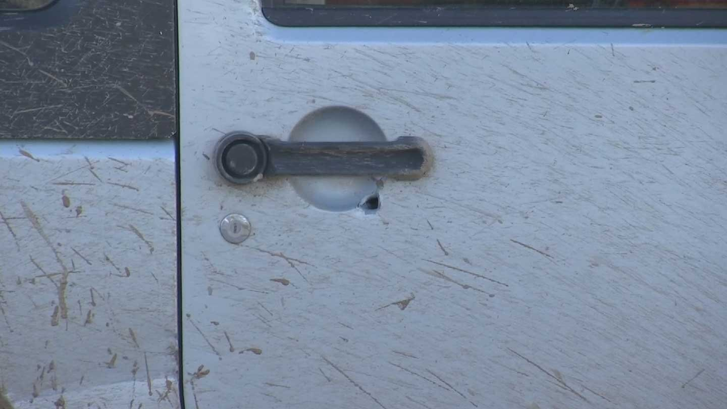 Arizona state troopers found two bullet holes in vehicle shot at on Loop 101 in Scottsdale. (Source: KPHO/KTVK)