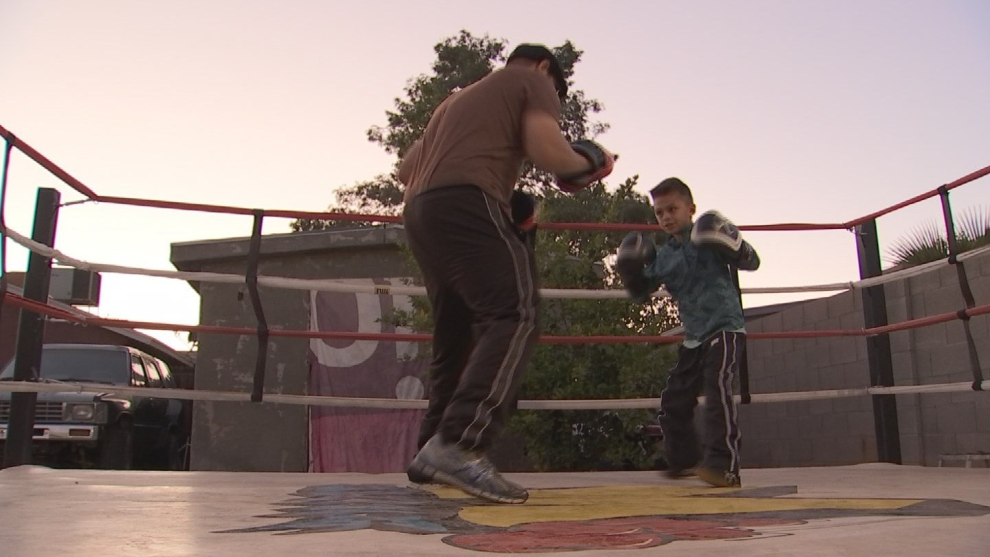 Ray train one to two hours every weekday in a ring his family built in their backyard (Source: KPHO/KTVK)
