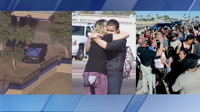 Two 15-year-old girls died Friday in a shooting at a Glendale high school (Soure: KPHO/KTVK/AP)