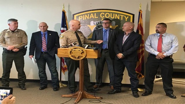 Pinal County Sheriff Paul Babeu at a press conference on Tuesday. (Source: Dennis Welch, KPHO/KTVK)