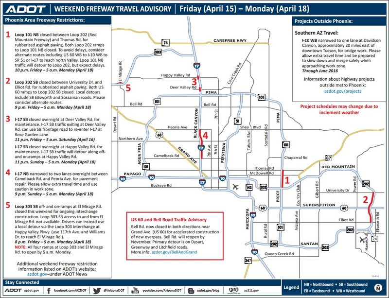Weekend freeway travel advisory april 15 18 arizona 39 s for Red mountain motors mesa az