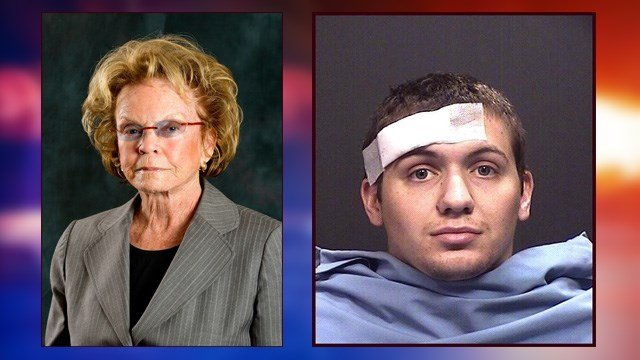 Ann Day and booking photo of Jarrad Barnes. (Source: Mug shot from Pima