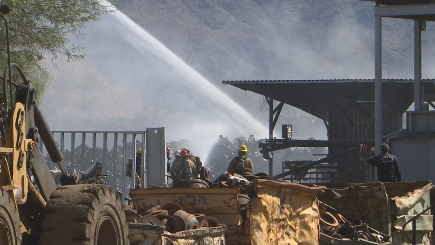 Flames at phoenix scrap yard marks 4th fire in area since may cbs 5