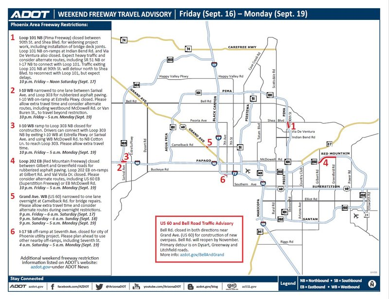 Adot weekend freeway travel advisory sept 16 19 for Red mountain motors mesa az