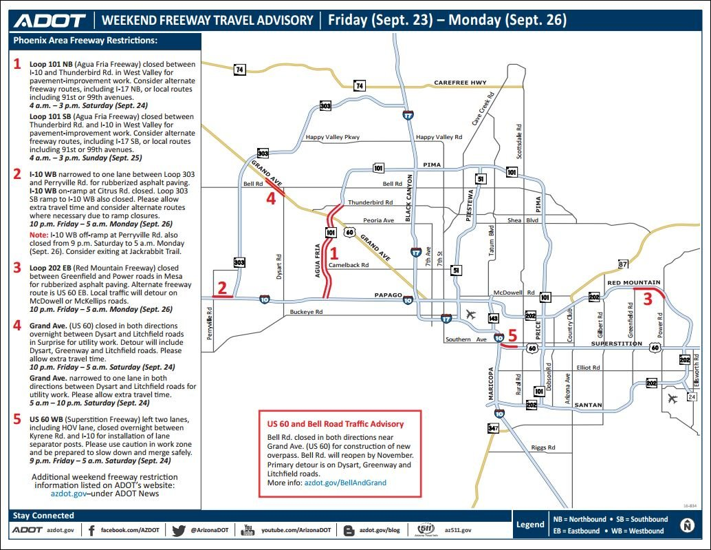ADOT Weekend Freeway Travel Advisory Sept 2326 azfamily – Interstate Weather Maps Travel
