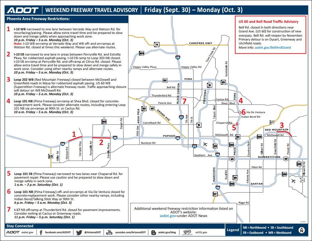 Map Of Loop 202 Arizona.Adot Weekend Freeway Travel Advisory Sept 30 Oct 3 Azfamily Com