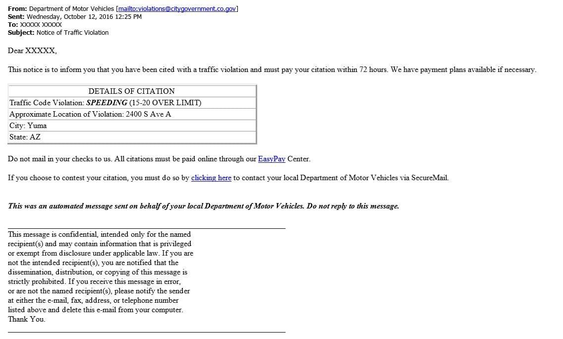 Yuma Pd Warns Of Phishing Scam Disguised As Speeding