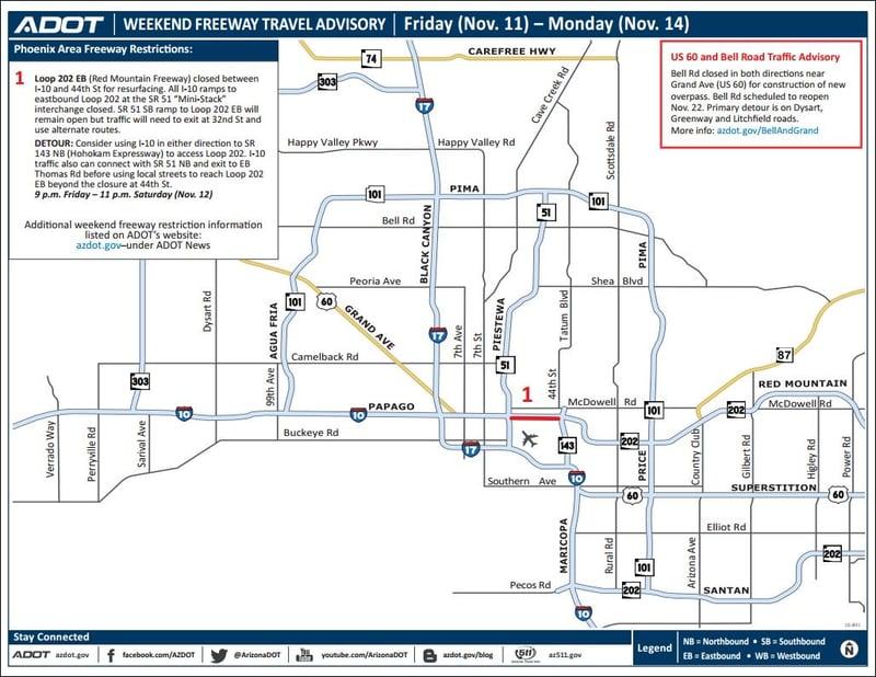 Weekend freeway travel advisory nov 11 14 arizona 39 s for Red mountain motors mesa az