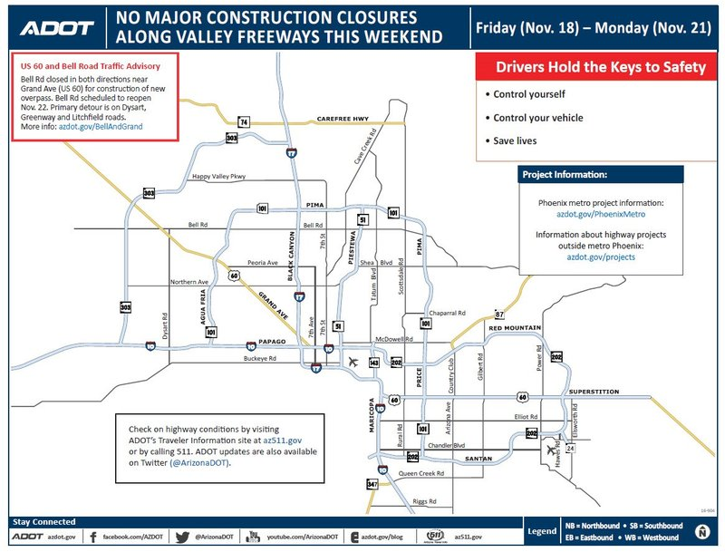 No major construction closures scheduled this weekend on for Red mountain motors mesa az