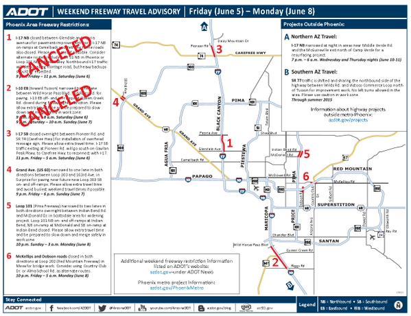 ADOT Weekend freeway travel restrictions Arizona s Family