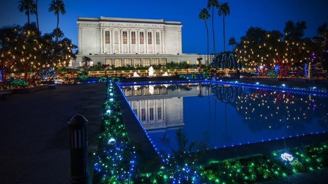 Lds temple in mesa ready to turn on christmas lights arizonas family