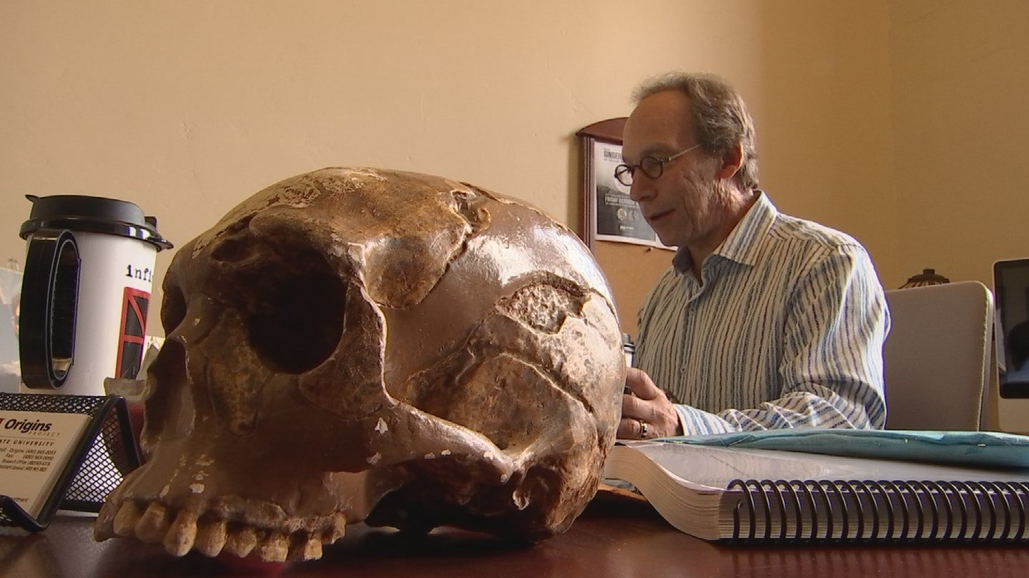 Theoretical physicist Lawrence Krauss, who is also a cosmologist and founder of ASU's Origins Project, is not only an accomplished scientist, but also a big screen villain. (Source: KPHO/KTVK)