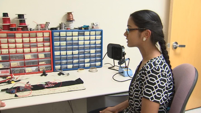 Shreya Venkatesh, a high school senior at BASIS Scottsdale, is helping program the devices vibration patterns. (Source: KPHO/KTVK)