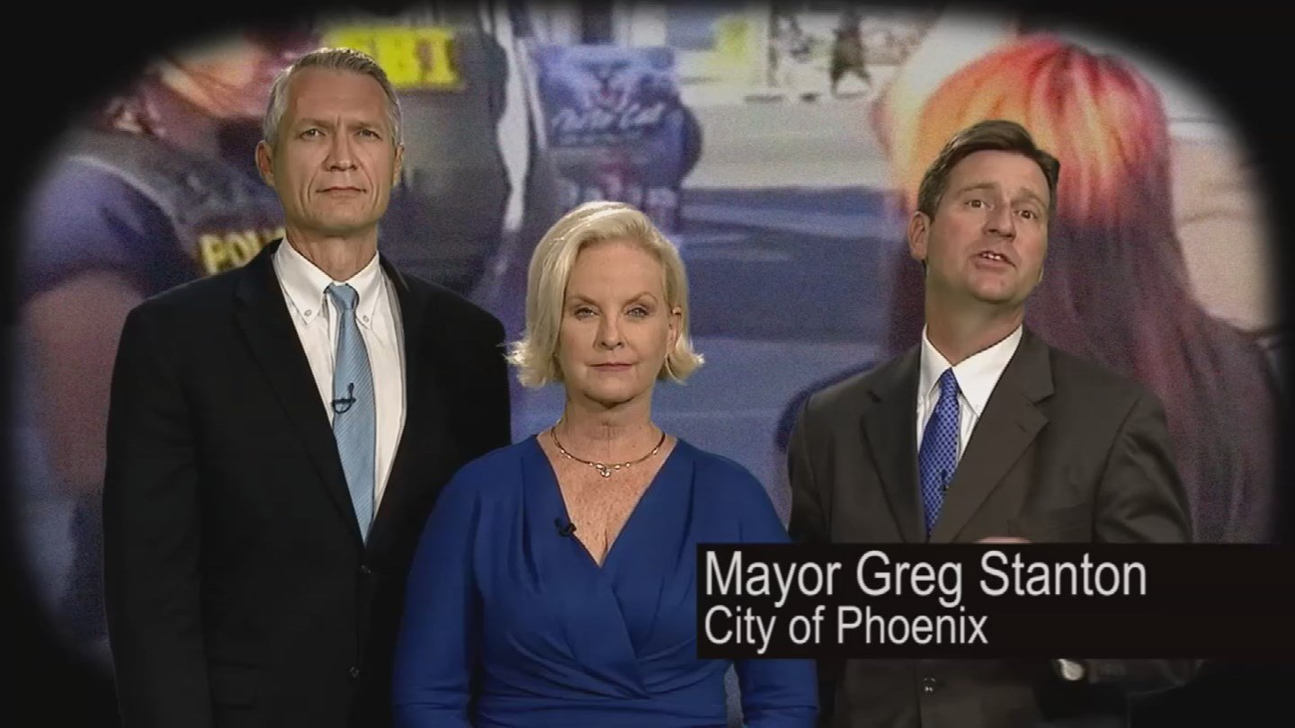 Phoenix leaders and Cindy McCain appear in a new PSA to fight human trafficking. (Source: City of Phoenix)